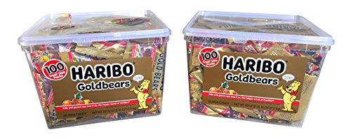 Haribo Gummy Bears Halloween Candy 2018 Giant Bonus Pack - 100 Snack Size Gold Bears Gummi Candy Individual Bags For Trick or Treat or Halloween Party Favors (200 Snack Pouches) -