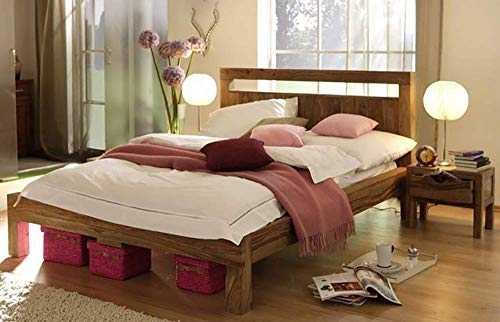 Woodlab Furniture Solid Sheesham Wood King Size Bed for Bedroom Without Storage Double Beds for Living Room  Honey Finish