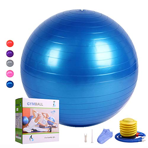 HEYIYI Yoga Ball for Fitness, Extra Thick Anti-Burst Exercise Ball Chair (65-85cm) Supports 2000lbs, Gym Heavy Stability Workout Massage Ball with Foot Pump – DiZiSports Store