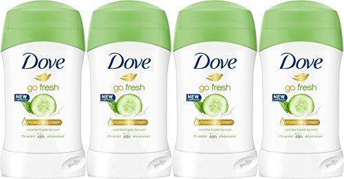 Green Tea Deodorant Stick - Dove Go Fresh Cucumber & Green Tea Scent, Antiperspirant & Deodorant Stick, 1.4 Oz/40 Ml (Pack of 4)