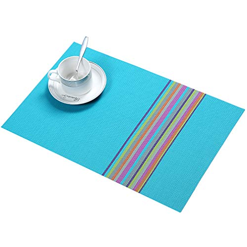 JEANNE PINK Table Mats Placemats Set of 6, Washable PVC Dining Place Mats Heat Resistant Kitchen Mats (Blue)