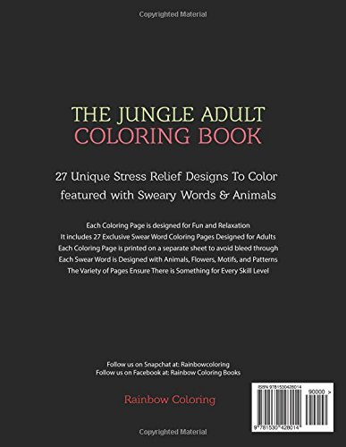 Swear Word Coloring Book The Jungle Adult Coloring Book featured with Sweary Words /& Animals
