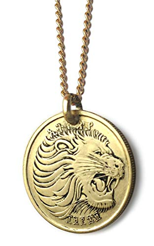 Worn History Authentic Roaring Lion Coin Necklace from Ethiopia (18 inches) ()