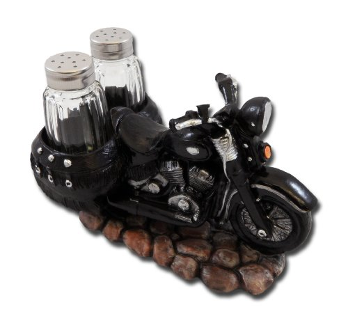 Spice The Open Roads Black Motorcycle Salt and Pepper Set by DWK