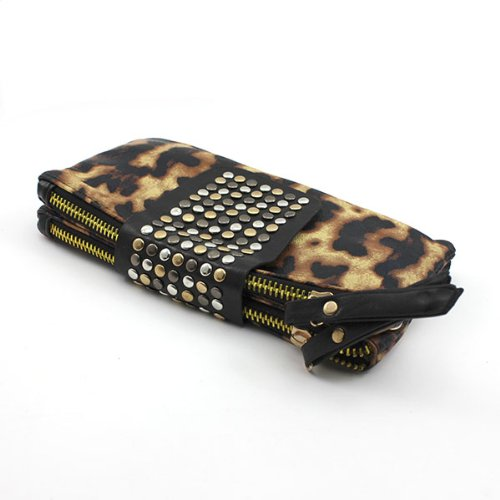HuaYang Retro Charm Pu Leather Handbag Dual Zipper Magnet Tote Purse Party Evening Bag(Leopard) 8tzIPy