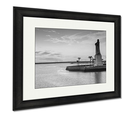 Ashley Framed Prints Discovery Faith Christopher Columbus Monument In Palos De Fronte, Modern Room Accent Piece, Black/White, 34x40 (frame size), Black Frame, AG6376969 by Ashley Framed Prints