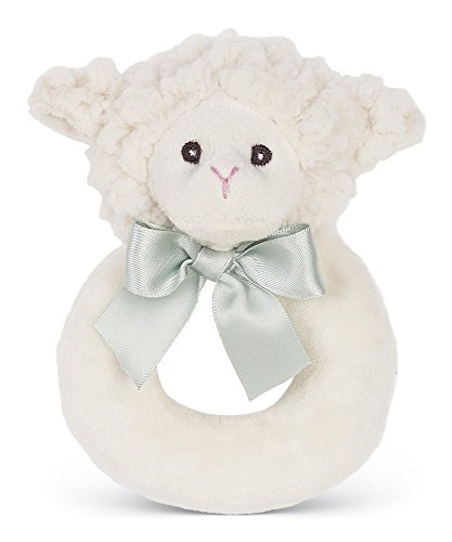 Bearington Baby Lamby Plush Stuffed Animal Cream Lamb Soft Ring Rattle, 5.5