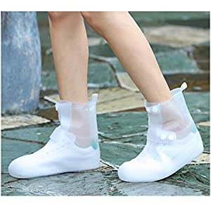 Life-C Rain Snow Shoe Covers Boots Waterproof Galoshes Overshoes Women Men(White-L/W6.5-7.5,M4.5-5.5)