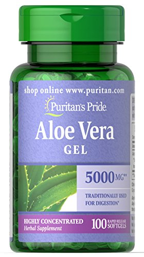 Aloe Vera Gel Softgel Capsules - Puritan's Pride Aloe Vera Extract 25 mg-100 Softgels