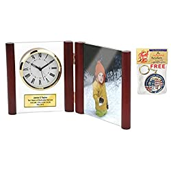 Engraved Hinged Glass Book Clock Wood Posts Photo Frame Holds 4 X 6 Picture Personalized Service Gift Retirement Award Employee Recognition Anniversary Wedding Appreciation Gift Birthday Retirement