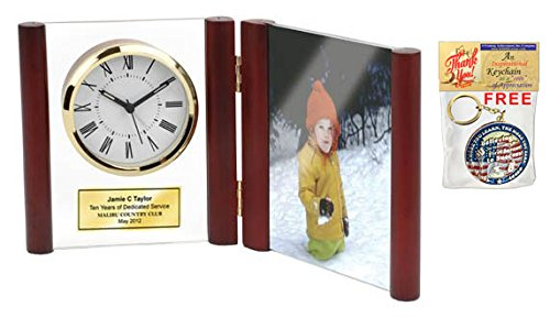 Engraved Hinged Glass Book Clock Wood Posts Photo Frame Holds 4ö X 6ö Picture Personalized Service Gift Retirement Award Employee Recognition Anniversary Wedding Appreciation Gift Birthday Retirement