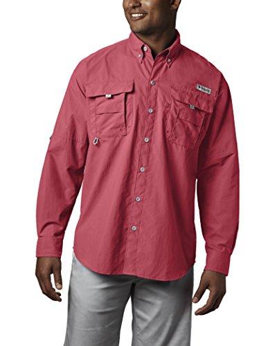 Columbia Sportswear Mens Bahama II Long Sleeve Shirt, Sunset Red, Large Tall