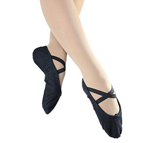 Danzcue Adult Split Sole Canvas Ballet Slipper (9 M, Black) by Danzcue
