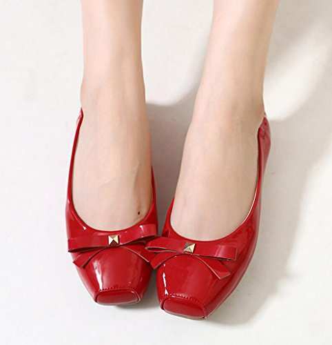 PU CAMSSOO baja zapatilla Patent Red mujer xgXSZx