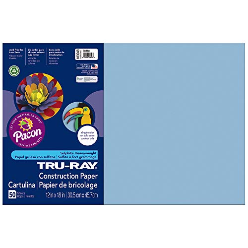 Tru-Ray Construction Paper, Sky Blue, 12