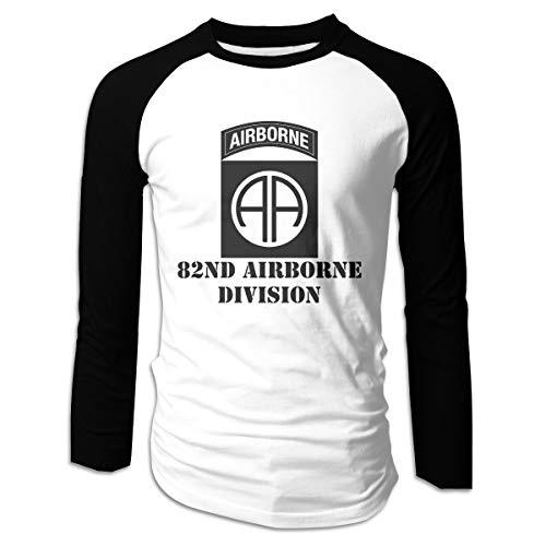 FLYLAKE Army 82nd Airborne Division Men's Long Sleeve Raglan Shirt Raglan Baseball Tee Black ()
