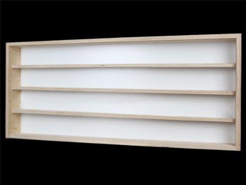 V130.4A- Vitrine murale 130 x 39 x 8,5 cm collection miniature collecteur affichage pion petit objet vitres en plexiglas clair meuble rangement étagère bois nature pour échelle H0 et N avec rainures