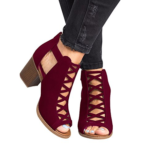 Liyuandian Womens Platform Open Toe Ankle Strap Zipper Back High Heel Sandals, Wine Red, 8