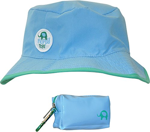 Floppy Tops Ultra Compact Reversible Sun and Rain Hat (Light Blue/Green) (Infant Top Hat)