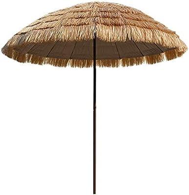 Sombrilla de jardín 丨 Sombrilla de paja de imitación 丨 Sombrilla de exterior 丨 Sombrilla de mesa de exterior de 250 cm 丨 Sombrilla de patio Botón pulsador Sombrilla de terraza Sombrilla