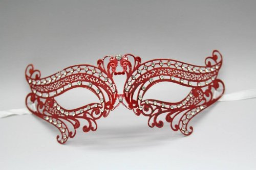 Lover Swan Metal Laser Cut Venetian Mardi Gras Masquerade Mask w/ Diamond (Red)