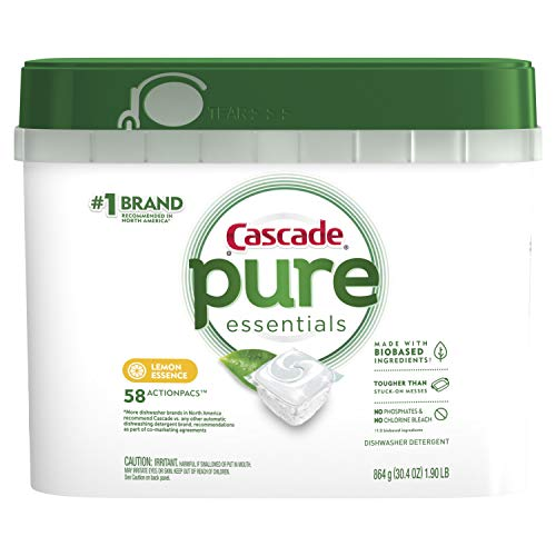 Cascade Pure Essentials Actionpacs Dishwasher Detergent, Lemon Essence, 58 Count