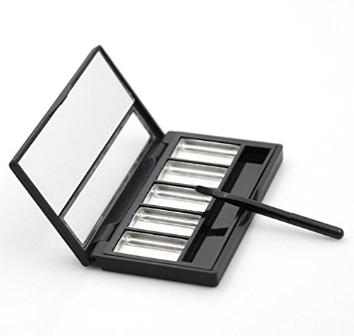 1PCS 5Grid Black Empty Makeup Palette DIY Eye Shadow Pigment Tray Holder Case With Aluminum plate Mirror And Lip Brush For Women Girls - Magnetic Cosmetic Case