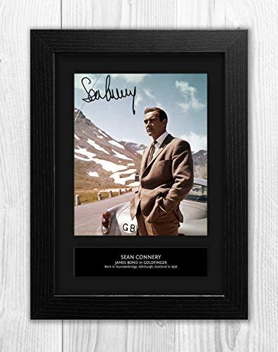 - Sean Connery - 007 - James Bond - Goldfinger 4 MT - Signed Autograph Reproduction Photo A4 Print(Black Frame)