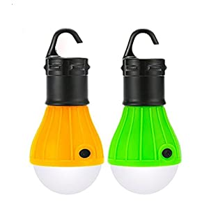 2 Pack Portable LED Lantern Tent Light Bulb for Camping Hiking Fishing Emergency Light, Battery Powered Camping Lamp with 6 AAA Batteries … (16)