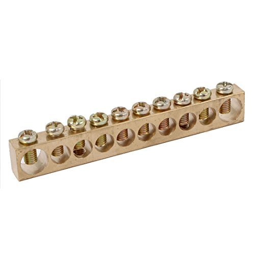DealMux 10 Positions Distribution Cabinet Box Wire Terminal Ground Copper Neutral Bar DLM-B01LX5O1I1