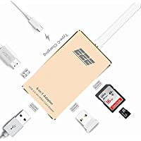 E2E USB 3.1 Type-C to 4K HDMI USB 3.0 Port USB-C Charging and SD Card Reader 6-IN-1 Adapter Hub (gold)