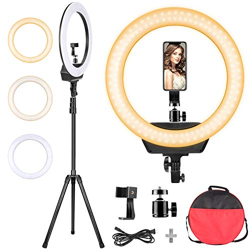 Ring Light with Stand, 3200-5600K Dimmable LED Ringlight 3 Color with 80-inch Stand Phone Holder and Carry Bag for Photography/Camera/Makeup/YouTube/Video Live Stream(Protect Eyes)