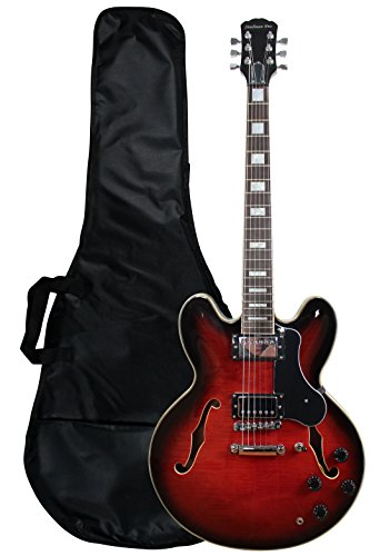 YMC GE355-TRD Jazz Semi Hollow Body Cutaway Electric Guitar–Transparent Red
