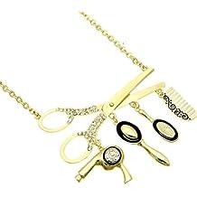 Hair Stylist Necklace Crystal Scissor HI Black Dryer Mirror Comb Brush Gold Tone