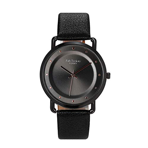 Winsopee Simple Fashion Casual Cool Monochrome Dial Belt Watch for Women Pin Buckle Ladies Watch(Black C)