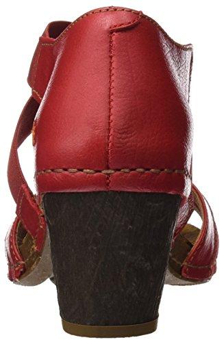 ART 0148 Memphis I Meet, Sandalias con Punta Abierta para Mujer Rojo (Carmin)
