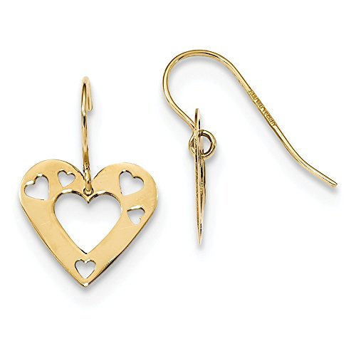 14k Yellow Gold Cut Out Heart Drop Dangle Chandelier Earrings Love Fine Jewelry Gifts For Women For Her ()