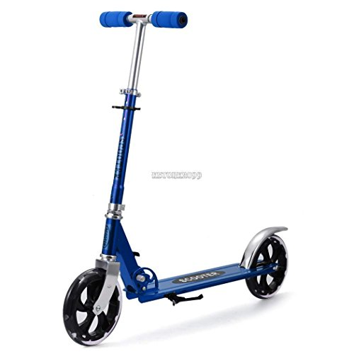 Folding Kick Scooter Kids/Adult 2 Wheels Outdoor Ride Push Exercise Scooter – Blue