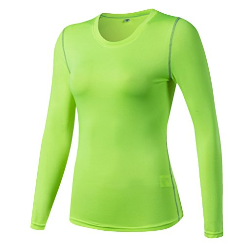 Zhhlaixing Womens Sports Fitness Running Workout Casual Quick Dry T-Shirts Tops Fluorescent Green