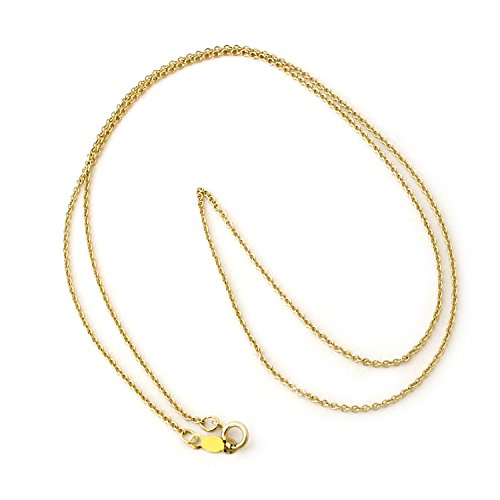 14k Yellow Gold 1.2mm Round Rolo Cable Chain Necklace, 16'' by Beauniq
