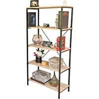 Sleekform 5-Shelf Bookcase - With Two Adjustable Shelves - Distressed Rustic Sand Paint Finish - Antique Look - Iron Frame - Home Furnishing Shelving Unit 5-Tier Bookshelf 31.5 L x 15 W x 64 H Inch