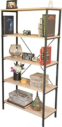 5-Tier Vintage Industrial Rustic Bookshelf - Open Shelf Bookcase with Two Adjustable Shelves - Free Standing Wood and Metal Multipurpose Storage Organizer Unit for Home & Office - Antique Finish by Sleekform