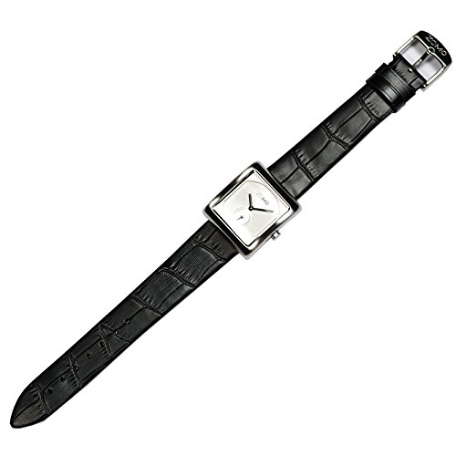 ZOMO Aroma Designer Watches for Women-Analog Swiss Quartz Classic Watches - Stainless Steel Rectangle Small Second Dress Watch with Silver dial and Black leather Strap by ZOMO (Image #3)