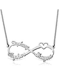 925 Sterling Silver Personalized Infinity Family Name Necklace with Cut-Out Heart Custom Made with 3 Name