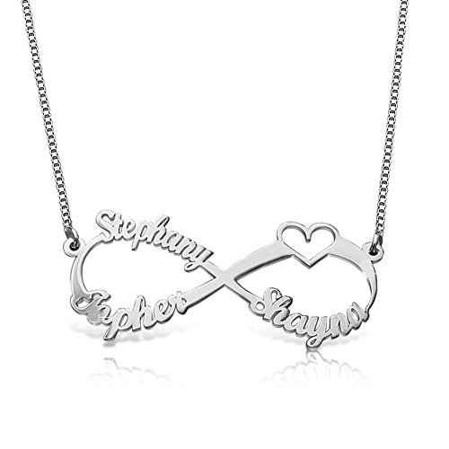 Ouslier Ouslier 925 Sterling Silver Personalized Infinity Family Name Necklace with Cut-Out Heart Custom Made with 3 Name (Silver) price tips cheap