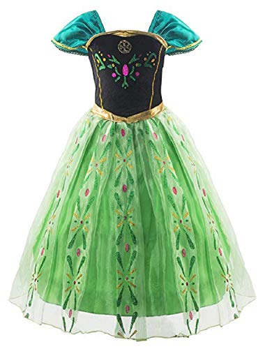 Princess Anna Costumes Birthday Party Dress Up for Little Girls 2T 3T (100cm) -