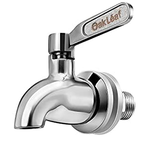 Beverage Dispenser Replacement Spigot,Oak Leaf Stainless Steel Polished Finished, Dispenser Replacement Faucet