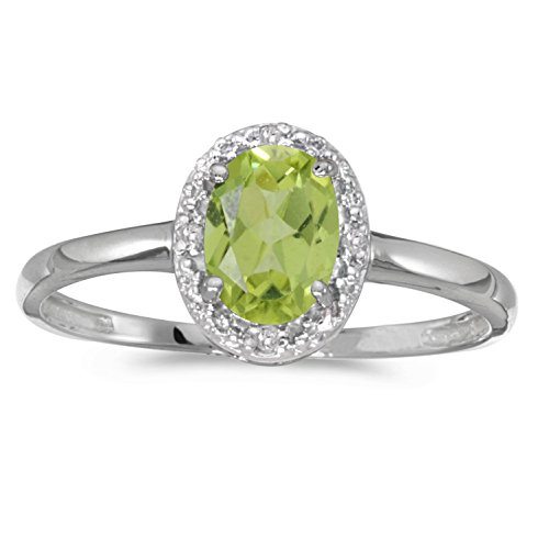 0.69 Carat ctw 10k Gold Oval Green Peridot Solitaire & Diamond Halo Engagement Promise Fashion Ring - White-gold, Size 6
