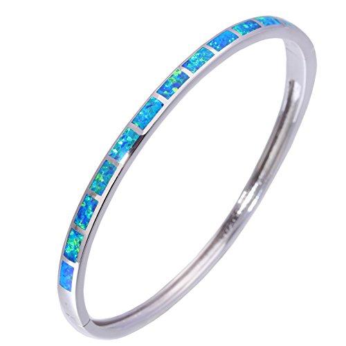 CiNily Created Blue Fire Opal Rhodium Plated Women Jewelry Adjust Cuff Bangle Bracelet 7 5/8