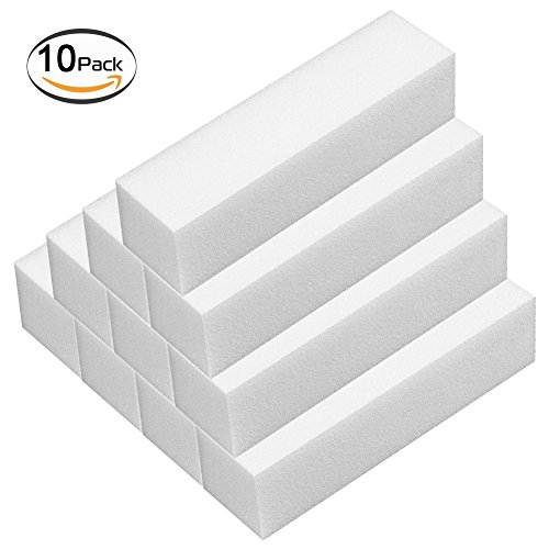 10pcs Nail Buffer Block 4 Way Nail File Buffing Sanding Buffer, Professional Salon Fingernail Manicure Pedicure Kit for Pretty Manicure Great for Natural, Gel, Acrylic Fake Nails for Woman (10 - 4 Block File Sided